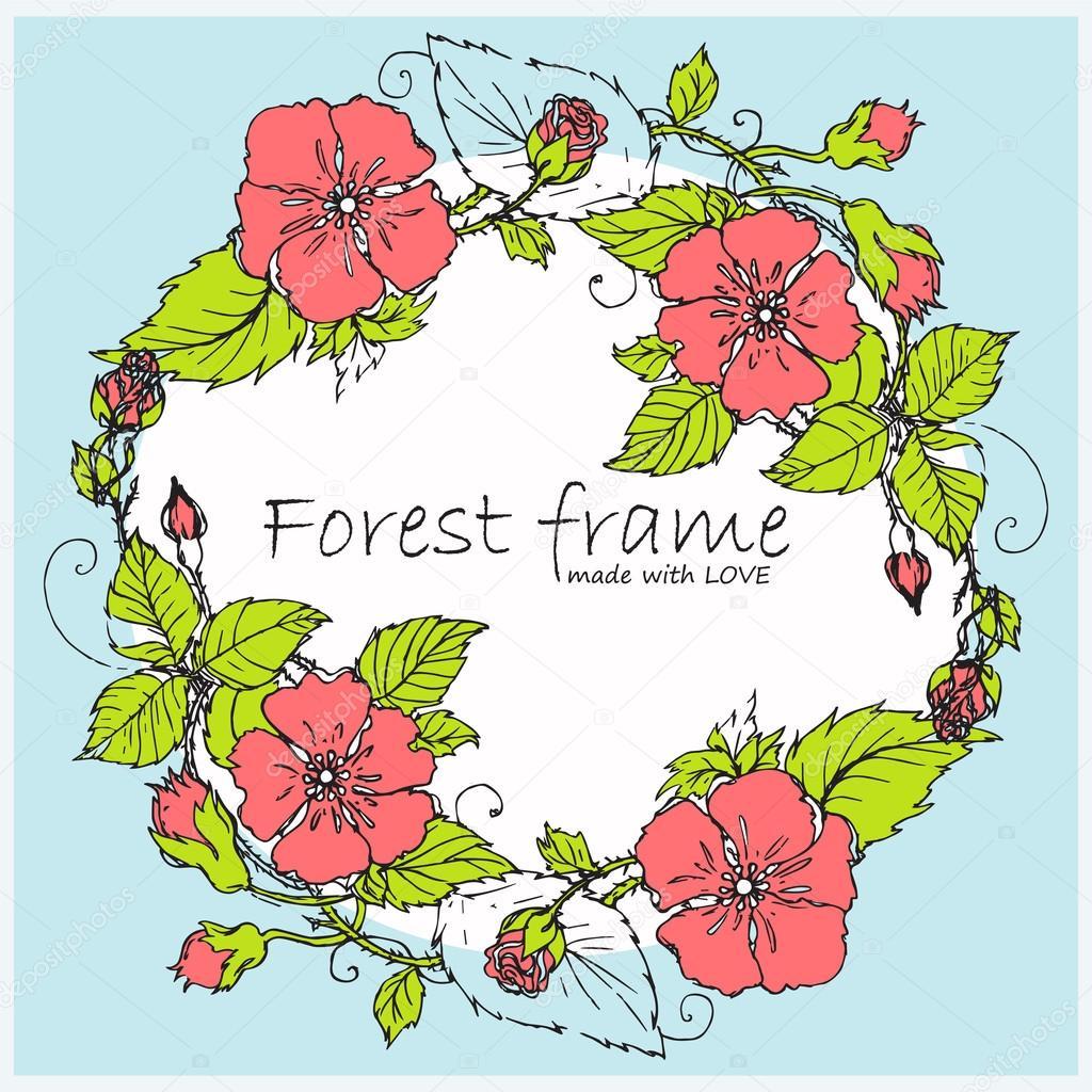 handdrawn vector vintage oval frame Forest or garden herbs