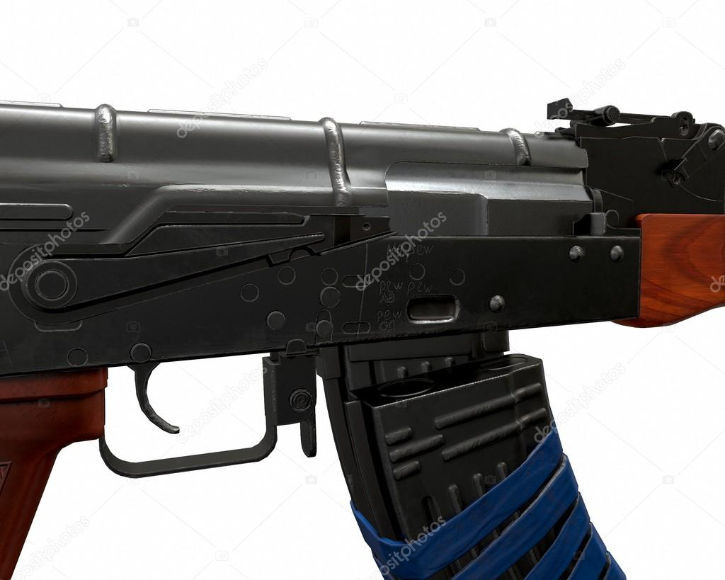 Akm assault rifle 3D illustration on white background  Blue tape and