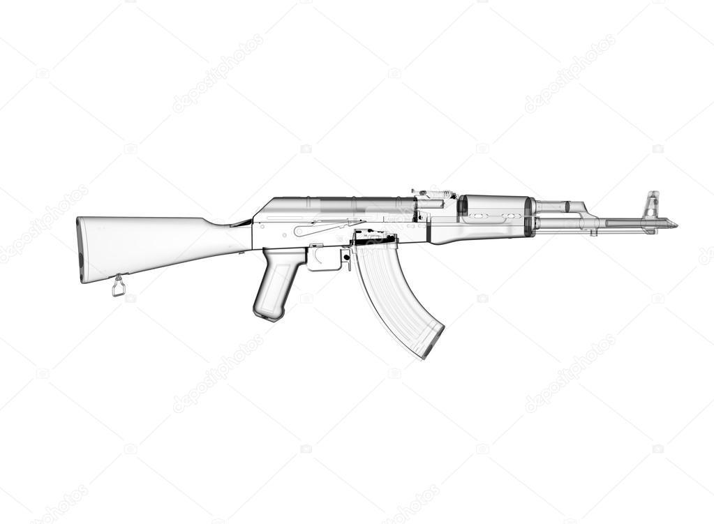 Akm assault rifle 3d illustration in color  metal parts  transparent