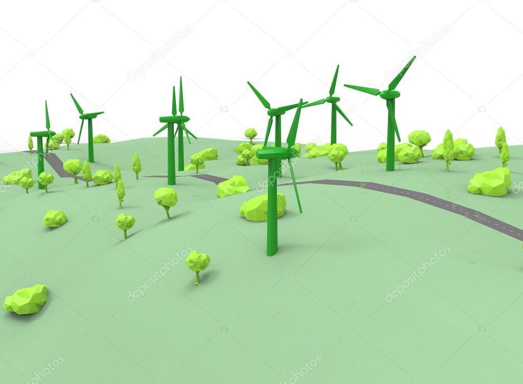 3d illustration of simple wind generators.