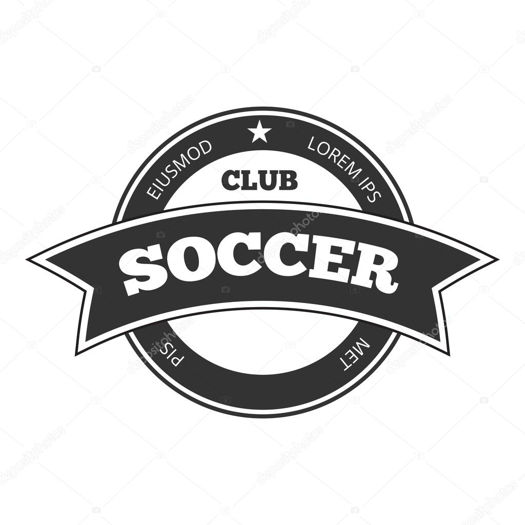 Super Logotipo de vetor futebol, modelo de crachá isolado em preto e  NY19
