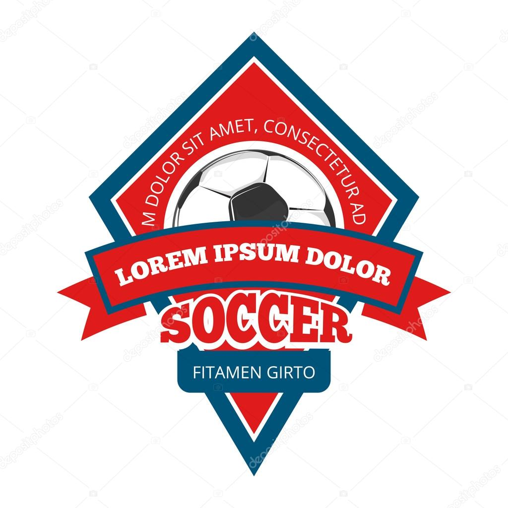 Vector soccer logo, badge, emblem template in red and blue — Stock ...