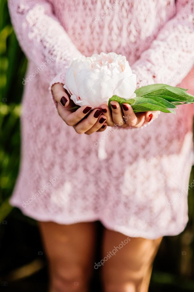 Woman Hands Holding Lotus Flower Stock Photo Photolife 105600980
