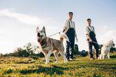 Fotografie zwei Zwillingsbrüder mit husky Hunde