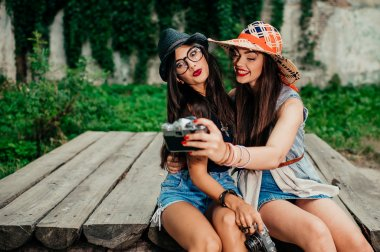 beautiful girls making selfie