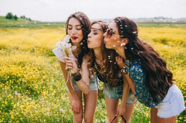 Three beautiful hippie girls