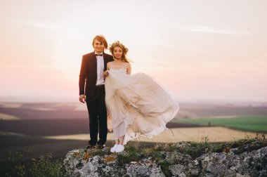 Wedding couple in the evening