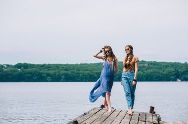 girl friends on the dock