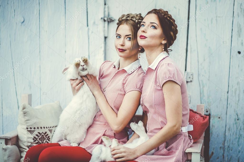 two beautiful twin sisters