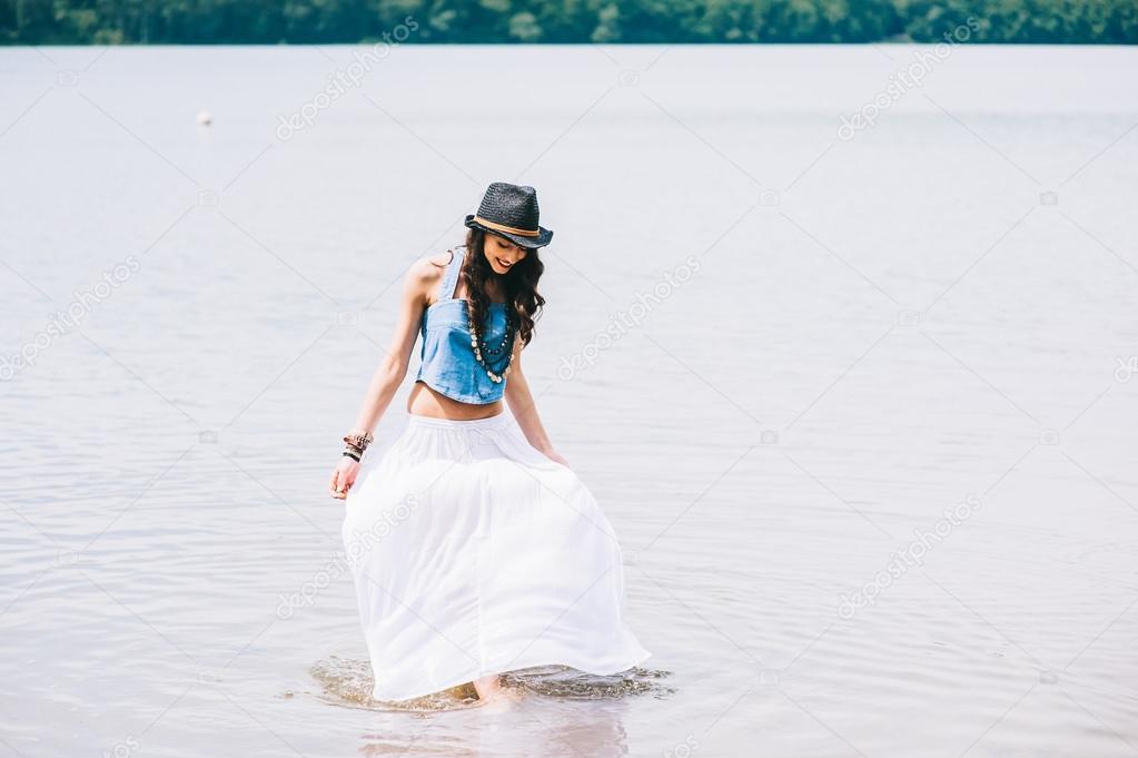 beautiful girl on the lake