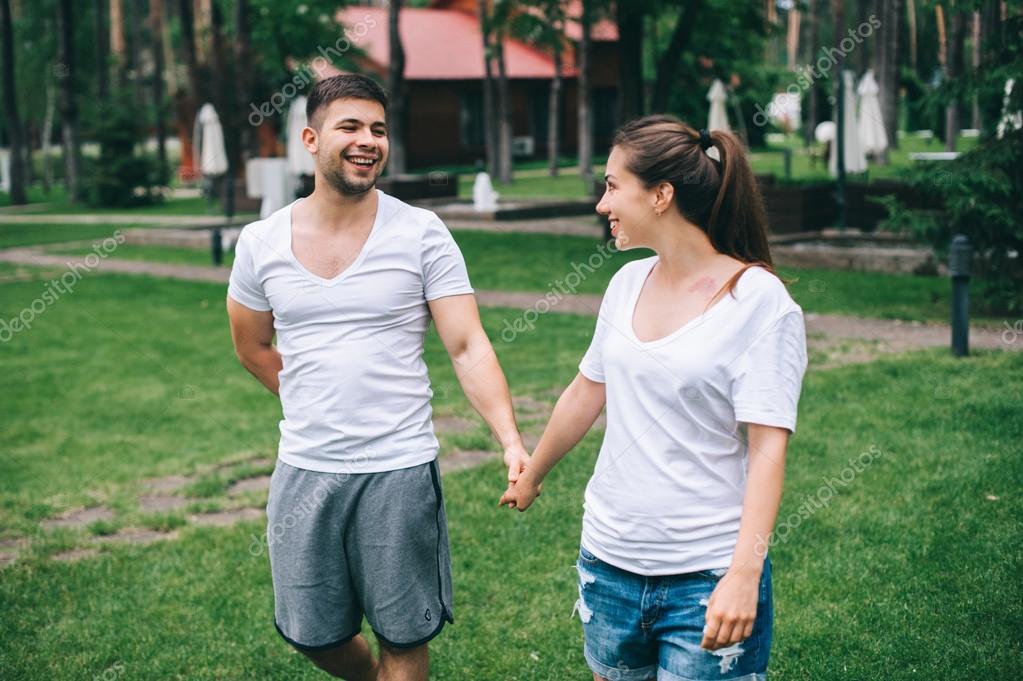young couple in love having fun
