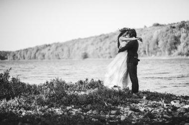 beautiful young newlyweds