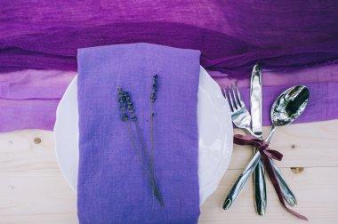 Pretty purple table setting