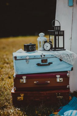 Old suitcase scenery outdoors