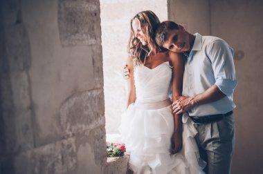 Beautiful newlyweds in Greece