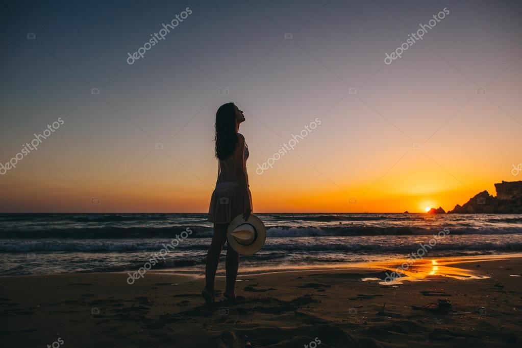 Sea beach girl silhouette