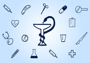 Set of medical dark blue icons on a light blue background clip art vector