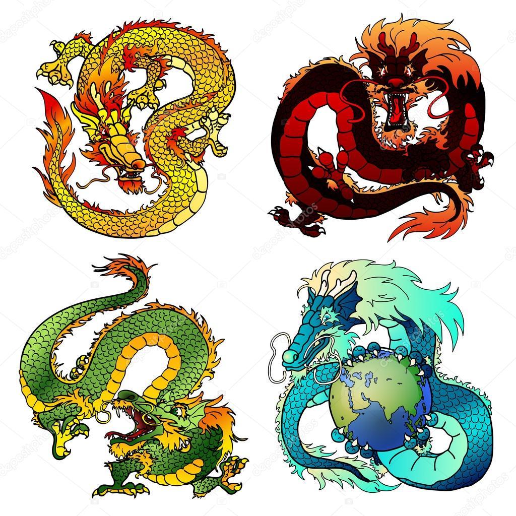 Set da drago quattro astuzia colore asiatico vettoriali stock irbis 116572062 - Drago furioso occhi diversi ...