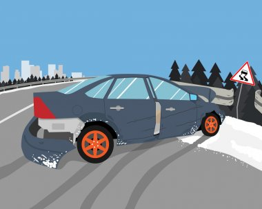 The driver lost control on a slippery road and the car skidded. Vector illustration