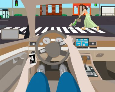 The driver was distracted by ringing phone and noticed a woman with a stroller on the road. Vector illustration