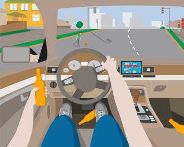Drunk man rides behind the wheel of a car navigation device and does not have time to notice the baby on the road. Vector illustration