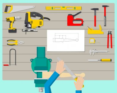 Top view of a carpenter at work in the workplace. Woodworking and carpentry, construction tools. Vector illustration