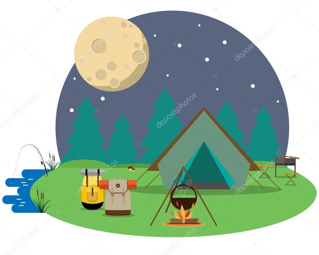 Tourists camped the night in the woods. Vector illustration