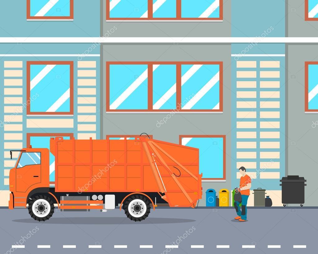Işçi şehir Dışına Götürüp Bir çöp Kamyonu çöp Toplamak Boya Vernik
