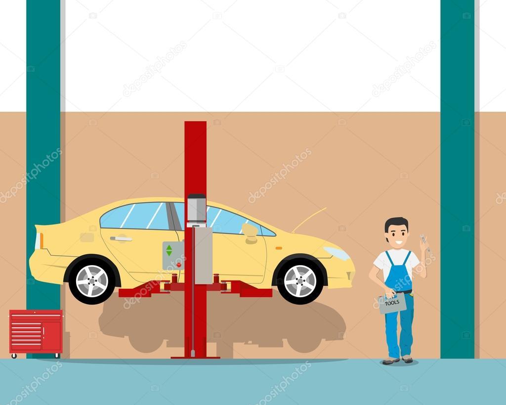 Blick Auf Das Innere Der Garage Von Innen Und Der Arbeitsplatz Mechaniker.  Auto