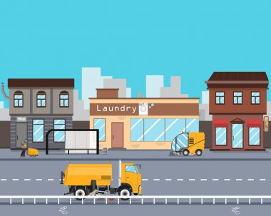 Heavy Equipment cleans the streets of the city from garbage and dust. Cleaning equipment. Road works. Vector illustration