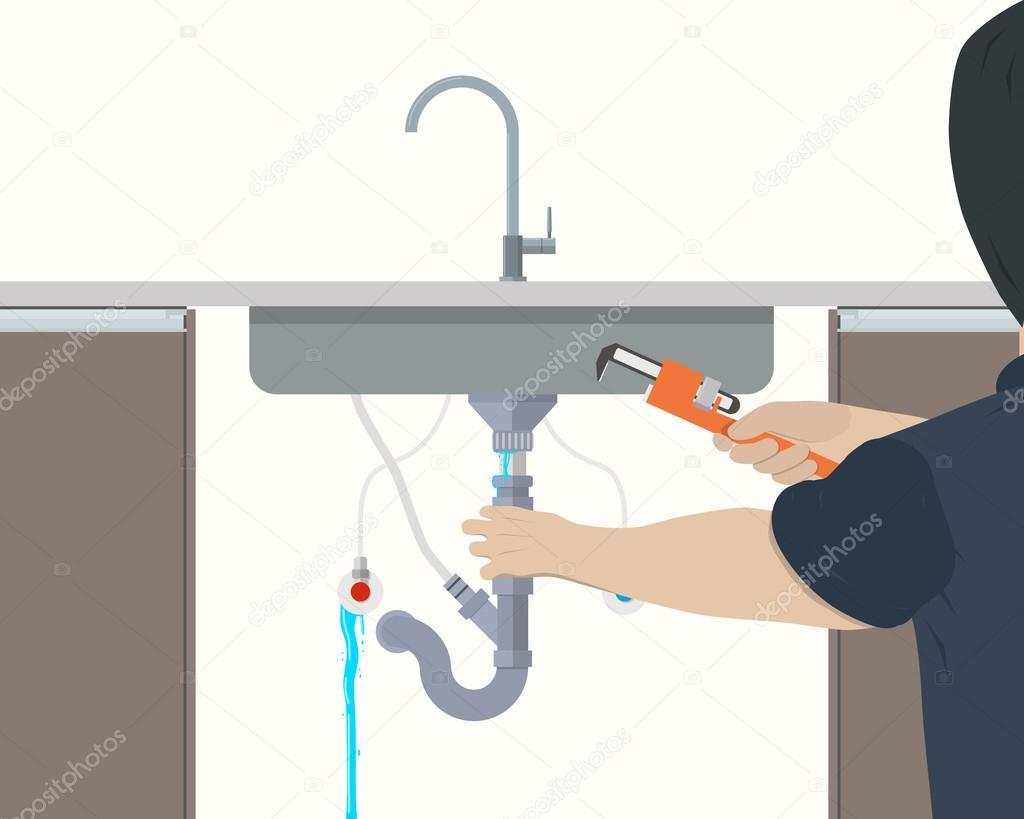 Plumber repairing leaking pipe under the kitchen sink. Vector ...