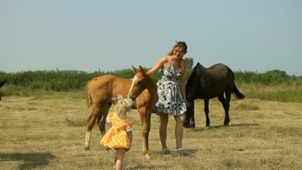 Máma a dítě s koňmi na hřišti