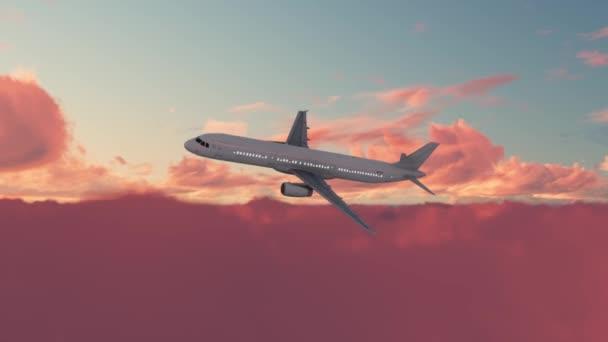 Letadlo letí při západu slunce, airliner prochází západem slunce, vanilková obloha, růžová obloha. 3D animace. Letadlo letí proti oblakům. HD osobní letadlo přes zatažené nebe