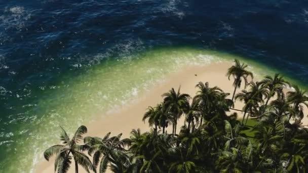 Tropická Pláž s úžasnou vodou a palmovým stromem. Pohled na ostrov shora.