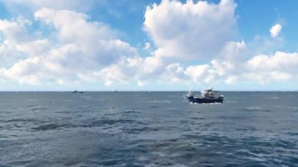 Lodě plující v moři během dne. Lodě plující opačným směrem