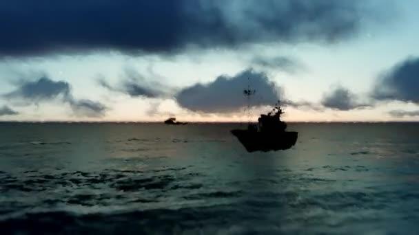 Lodě na západ slunce na moři. Velké rybářské lodě plující na obzoru na krásné letní slunce. Loď plující na oceánu na východ slunce. Impresionistické obrazy