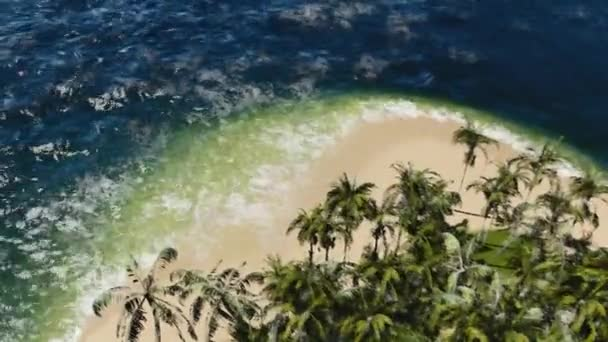 Tropická pláž s úžasnou vody a palm tree. Impresionistické obrazy