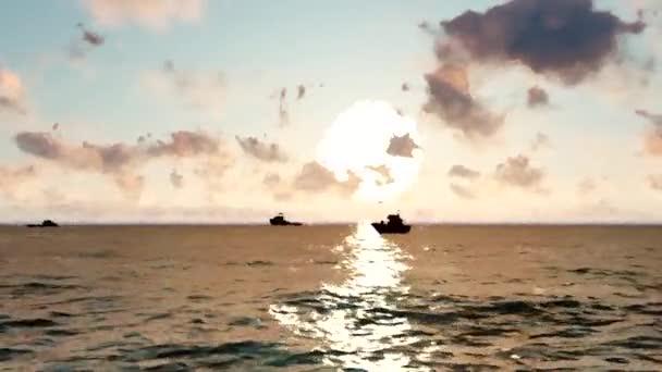 Akvarel moře slunce. Lodě na západ slunce na moři