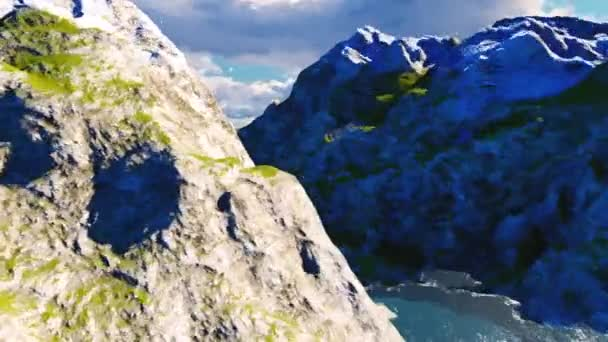 Švýcarský horský průsmyk time-lapse se sněhem pokryté vrcholky v pozadí
