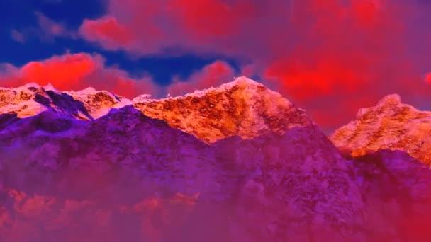 červené hory červená obloha