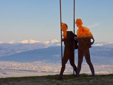 Pilgrim Monument at the port of Perdon, Camino de Santiago, Navarre