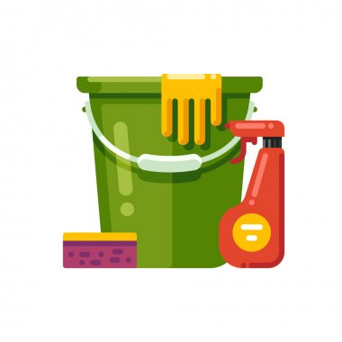 Cleaning supplies. Vector illustration