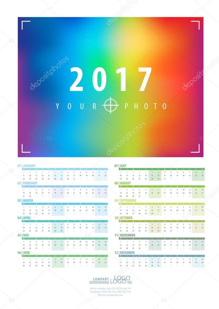 Ay takvim yılı için 2017 şablonu  12 ay kümesi  Kapak — Stok
