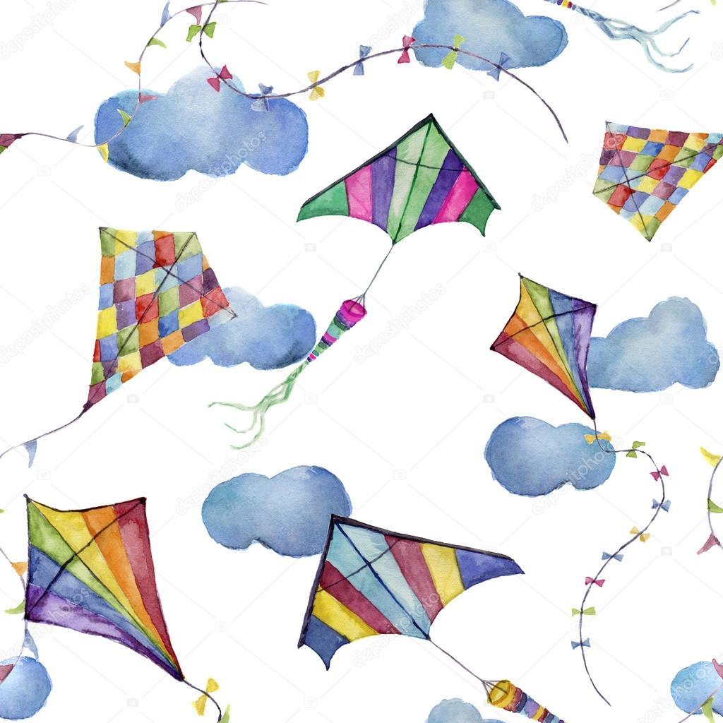 Acuarela de patrones sin fisuras con cometas y nubes. Mano dibujada ...