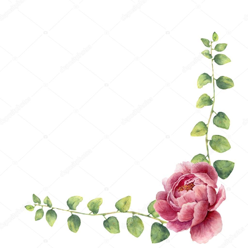 Aquarell Blumenkranz mit Blättern von Zweig Kraut und Pfingstrose ...