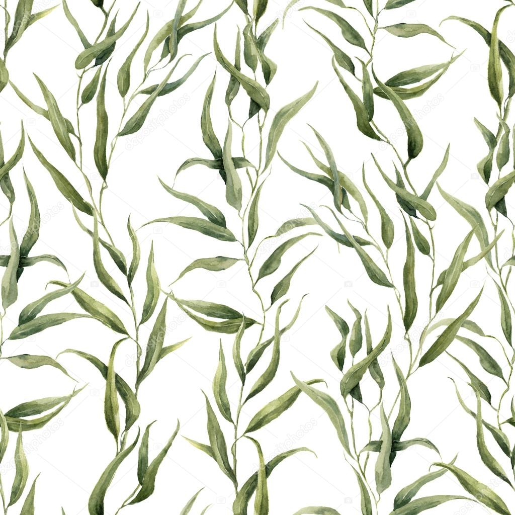 Watercolor green floral seamless pattern with eucalyptus leaves. Hand painted pattern with branches and leaves of eucalyptus isolated on white background. For design or background