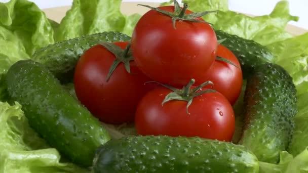 Friss zöld saláta, paradicsom és uborka