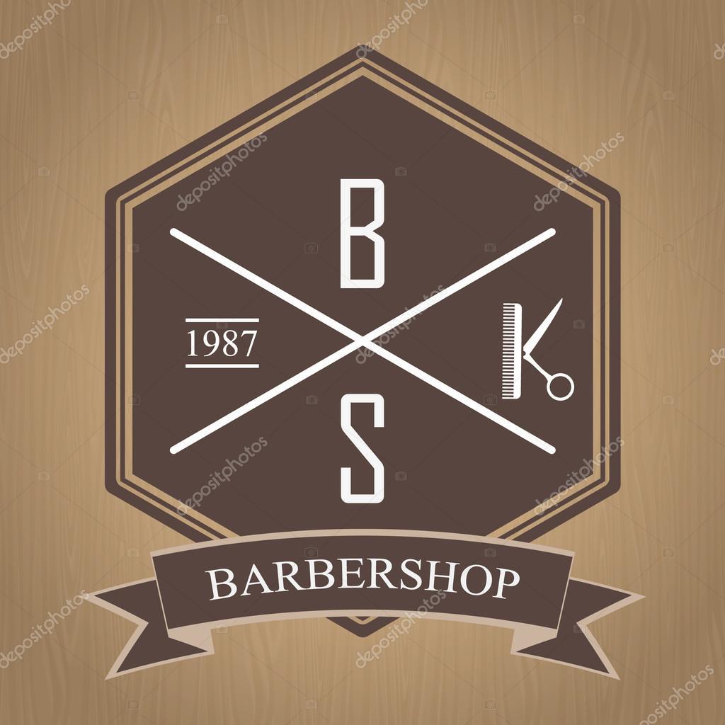 Logomarca para a barbearia, salão de cabeleireiro. Sinal de barbearia.  Ilustração vetorial —