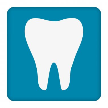 Tooth icon. Healthy tooth. Oral dental hygiene. Children teeth care. Tooth health. Blue background. Flat design. Vector illustration
