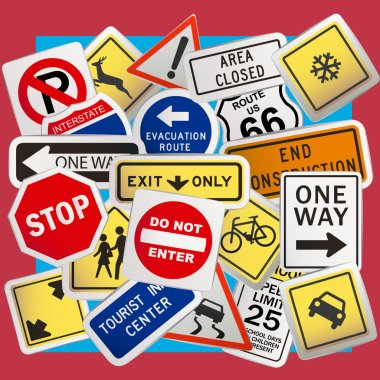 Montage of Numerous Traffic Control Signs and Signals. stock vector